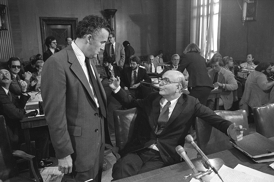 Paul Volcker prior to appearing on the Senate Banking Committee Panel in 1979