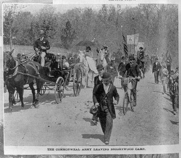 Photo: Coxey at the Capitol. The Commonweal Army leaving Brightwood Camp