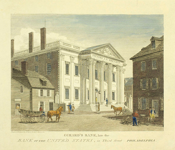 The First Bank of the United States, which opened its doors in Philadelphia in 1791.
