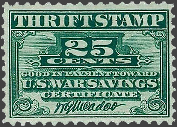 A 25¢ War Savings Thrift Stamp, 1918. These were collected and used to buy a $50 Liberty Bond.