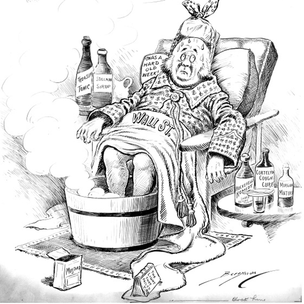 "A cartoon of an ailing man, labeled ""Wall Street,"" during the Panic of 1907."