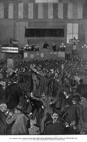 A drawing of New York stockbrokers in a panic on the morning of May 5, 1893.