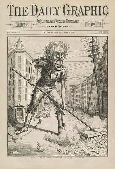 A cartoon of a giant figure named 'Panic' clearing garbage on Wall Street, 1873