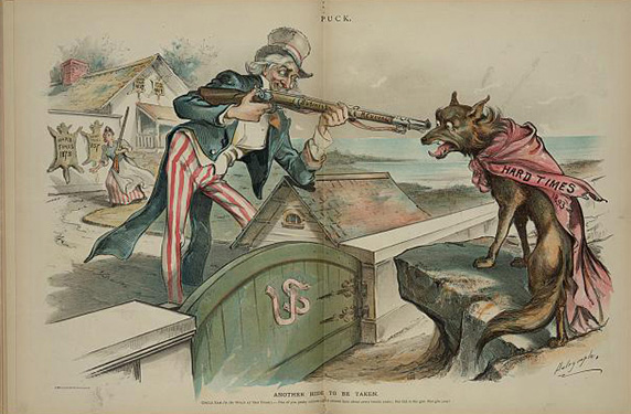 An 1893 cartoon of Uncle Sam pointing a gun at a wolf wearing a banner labeled 'hard times'