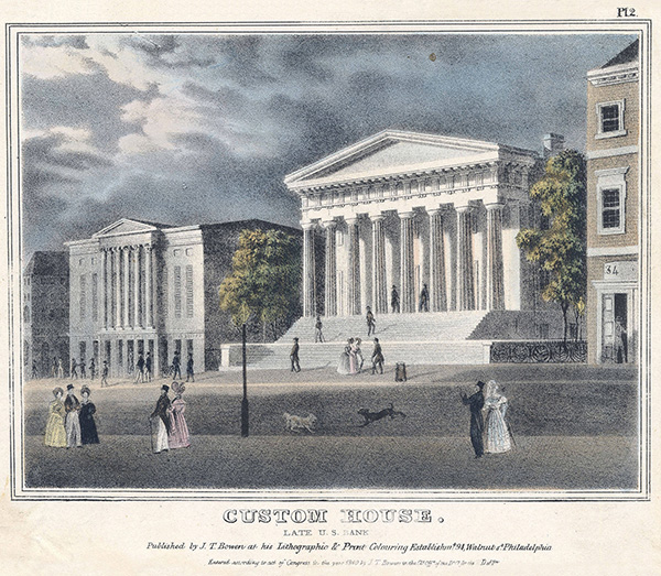 Lithograph of U.S. Bank, Philadelphia, formerly Second Bank