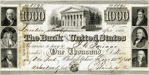 A $1,000 note issued by the Second Bank of the United States.