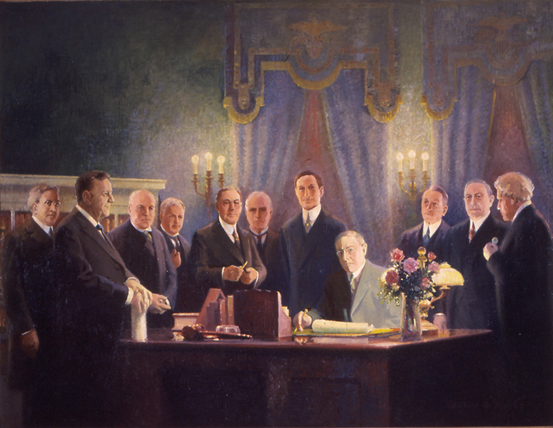 Painting of President Woodrow Wilson signing the Federal Reserve Act of 1913