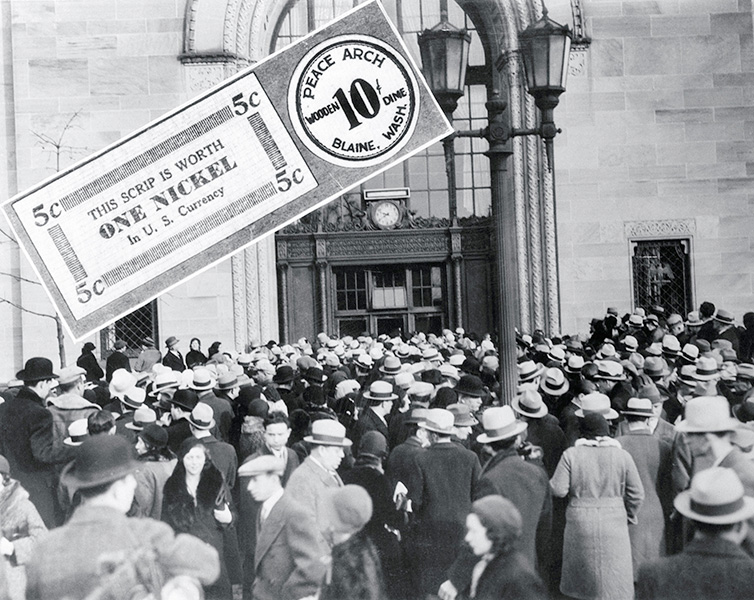 A crowd gathers outside the East New York Savings Bank during a run on that bank.