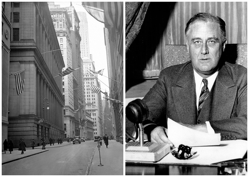 Two photos; the image to the left shows New York's deserted financial district during the bank holiday of March 1933, while the image to the right shows President Franklin Roosevelt giving a fireside chat to the American people.