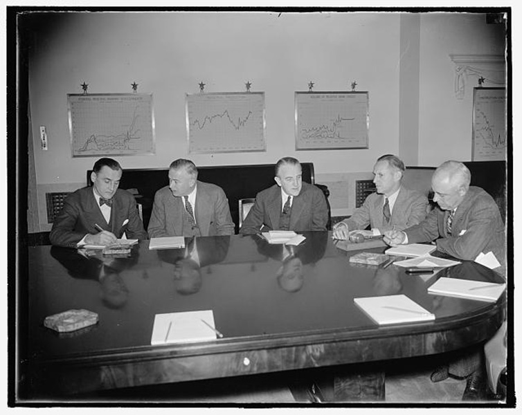 Five Federal Reserve Board members at a 1937 meeting