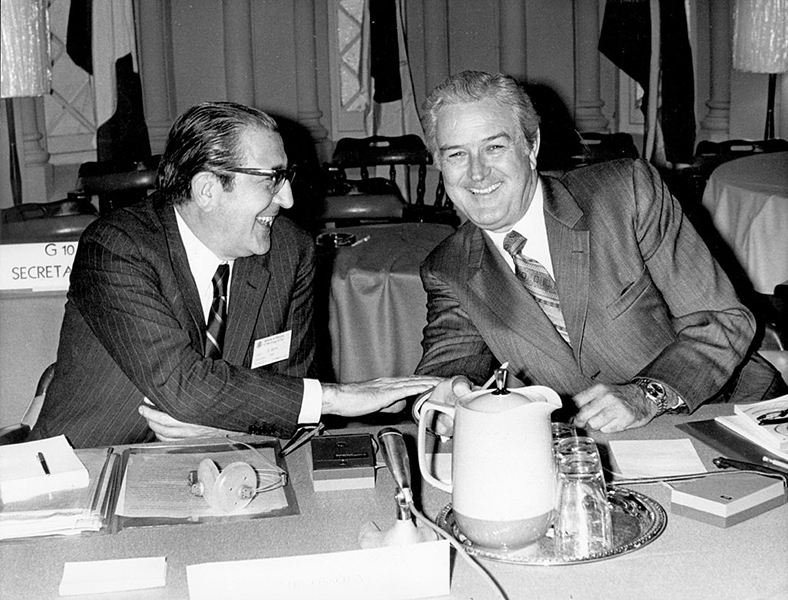 21st December 1971: US Treasury Secretary John Connally, right, Chairman of the meeting of the Group of Ten Ministers, chats with Renaldo Ossalo, at a meeting on international financial affairs.