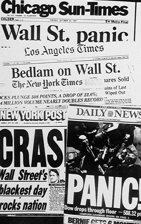 American newspaper headlines describing the stock market plunge of October 19, 1987