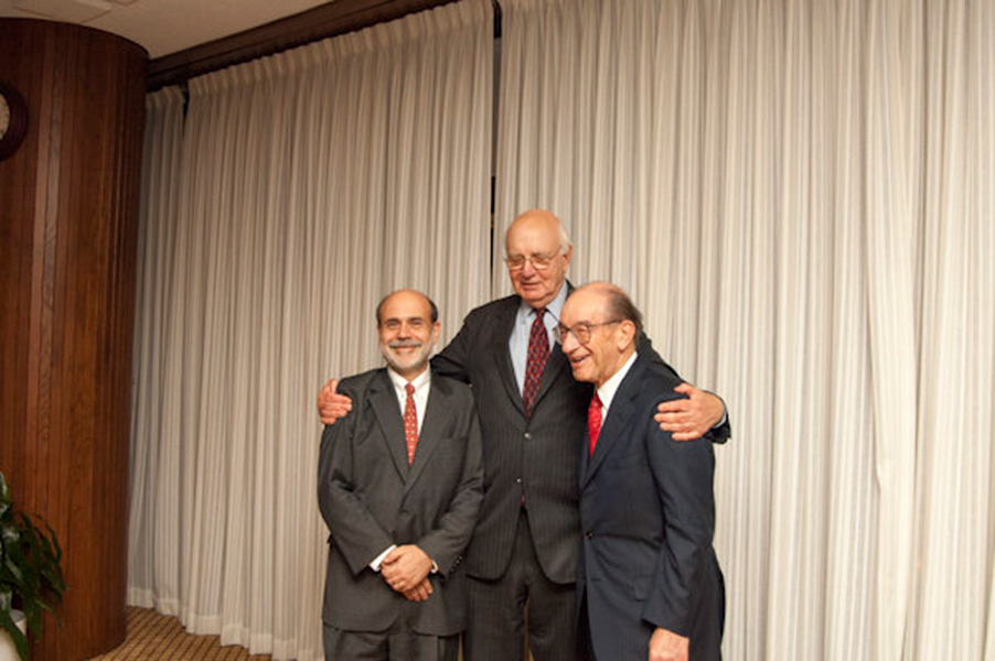 Federal Reserve Board Chairman Ben Bernanke stands with former chairmen Paul Volcker and Alan Greenspan.