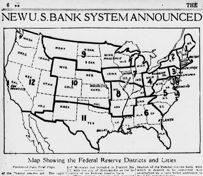 The RBOC announced the location and district boundaries of the Reserve Banks in April 1914