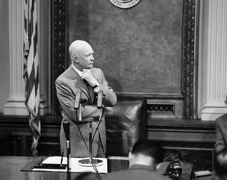President Eisenhower speaks to the press in Washington, D.C.
