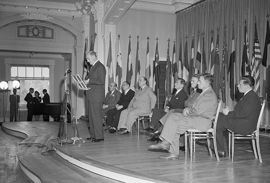 U.S. Secretary of the Treasury Henry Morgenthau speaks at the conference that established the International Monetary Fund.
