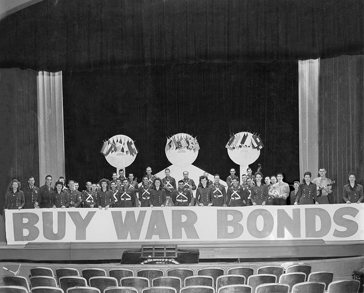 War bond rally to buy bonds, February 1944.