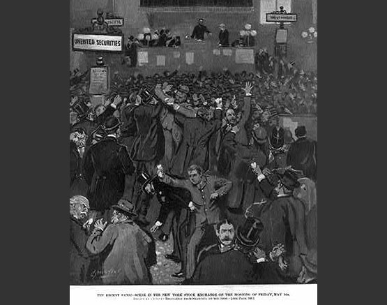 Scene of panic at the New York Stock Exchange on May 5, 1893.